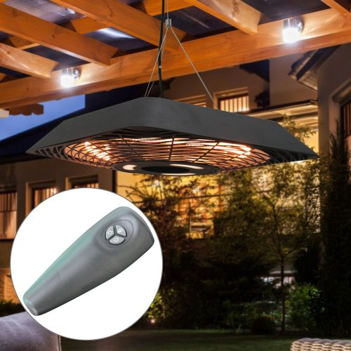 Electric Hanging Patio Heater With Remote - 2000W