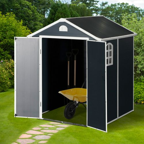 Durable Metal Frame Garden Storage Shed - 6FTx6FT