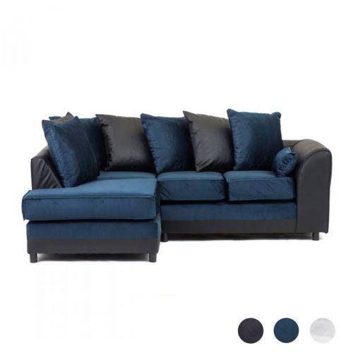 Dylan Velvet Corner Sofa - Dark Blue