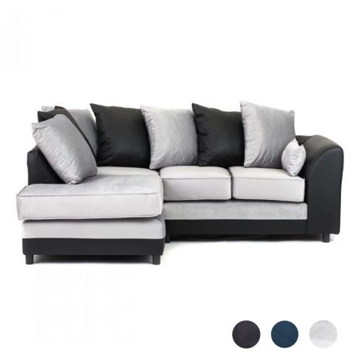 Dylan Velvet Corner Sofa - Light Grey