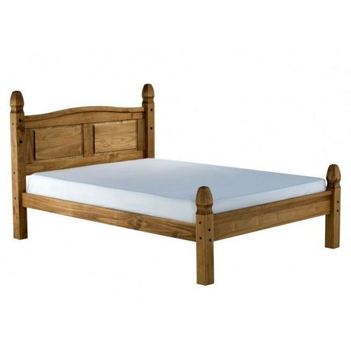 Corona Solid Pine Bed Double 4ft6 Low End  - Antique Wax