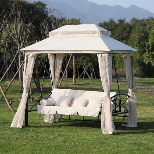 Outsunny 2-in-1 Convertible Garden Gazebo Swing Chair Bed