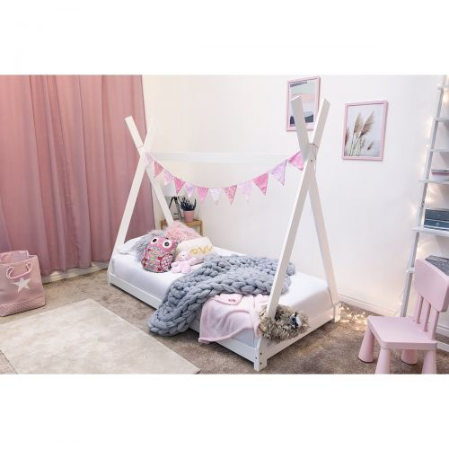 Tipi Tent Style Wood Kid's Bed - White or Pine