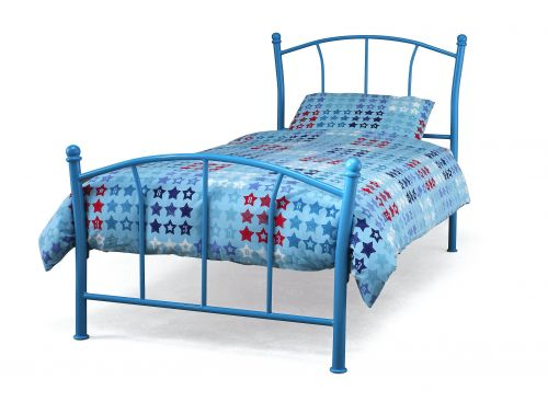 Penny Single Metal Bed - White, Blue or Pink