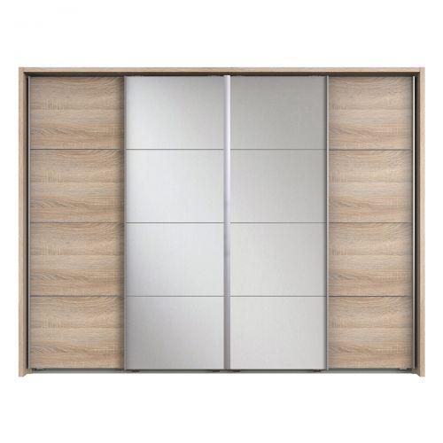 Bacoor 4 Door Sliding Mirrored Wardrobe - Oak