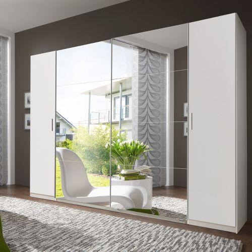 Lodz 4 Door 272cm Mirrored Wardrobe - White