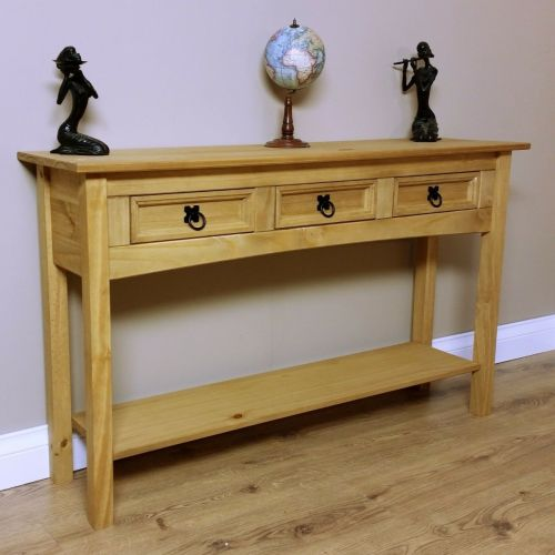 Corona Solid Pine Console Hallway Table - 3 Drawer