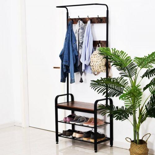 Homcom Retro Metal Standing Hallway Coat & Shoe Organiser