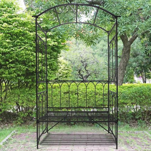 Outsunny Metal Frame Bench with Arch - Black