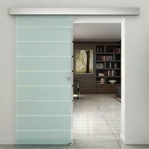 Homcom Indoor Tempered Frosted Glass Sliding Barn Door