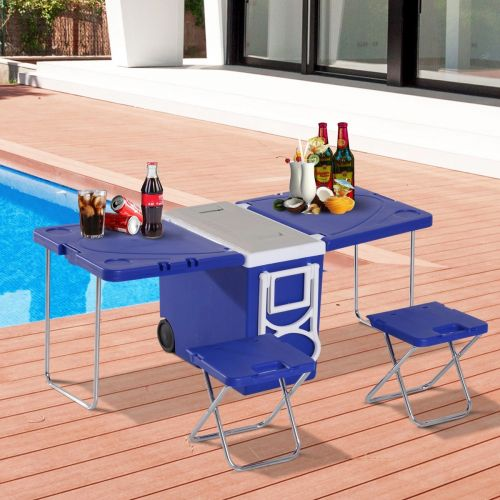 Outsunny 28L Cooler Box Folding Table Chair Set - Blue