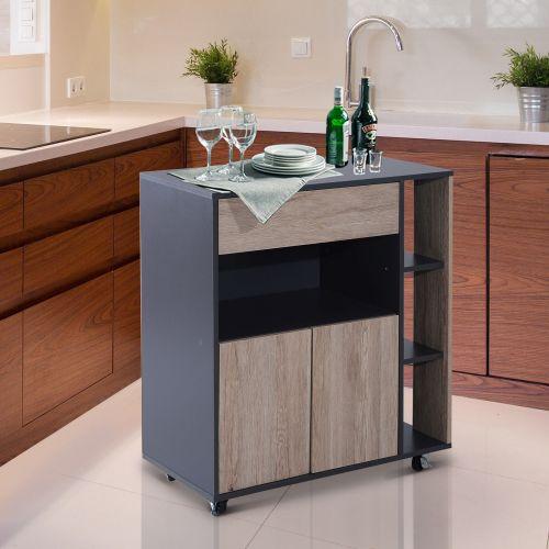 Homcom Wooden Multi-Storage Kitchen Trolley - Black