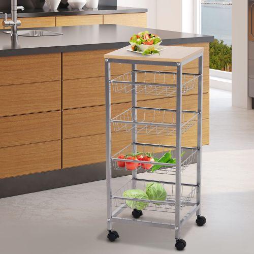 Homcom 5 Tier Rolling Kitchen Trolley