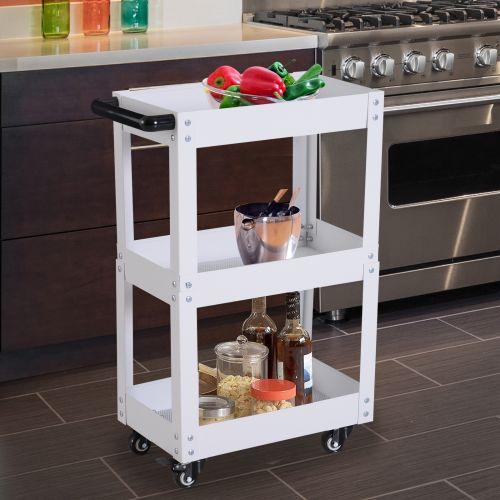 3 Tier Kitchen Storage Trolley Cart in Black or White