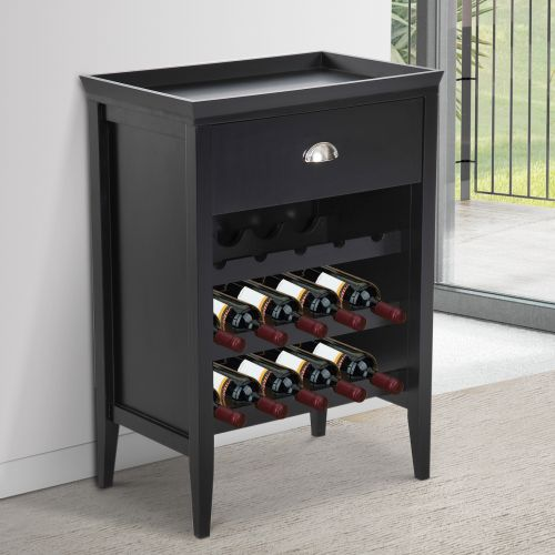 Wooden Wine Cabinet with Drawer and 15 Bottles Holder Storage