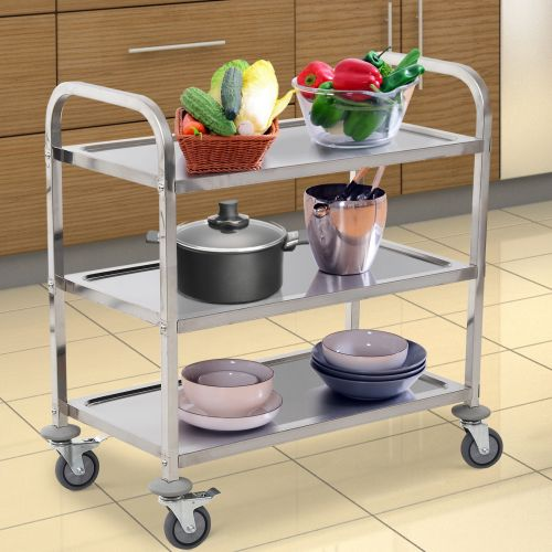 Stainless Steel 3 Tier Rolling Kitchen Cart