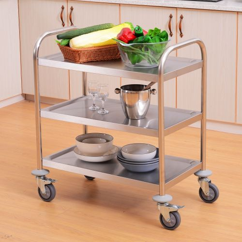 Stainless Steel 3 Tier Rolling Service Cart