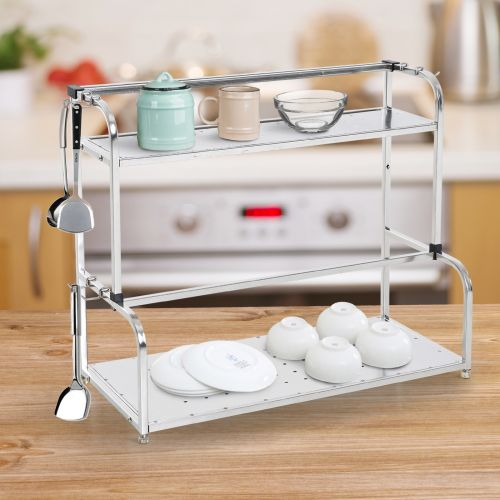 Stainless Steel 2-Tier Wall-mounted Freestanding Spice and Bottle Rack