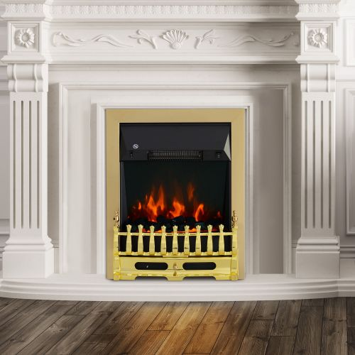 Homcom Vintage 2KW Electric Coal Flame Effect Fireplace - Gold