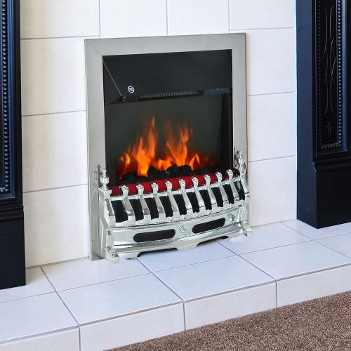 Homcom 2KW Electric Coal Flame Effect Fireplace - Silver