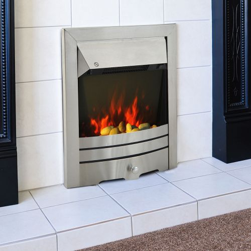 Homcom 2KW Electric Stainless Steel Flame Effect Fireplace
