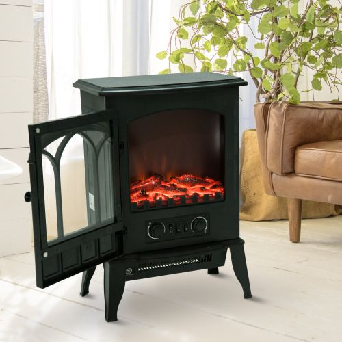 Freestanding Electric Fireplace with LED Flame Effect 1000W/2000W