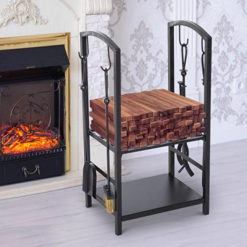 Homcom Indoor Outdoor Firewood Log Rack with Hooks and 4 Tools Black