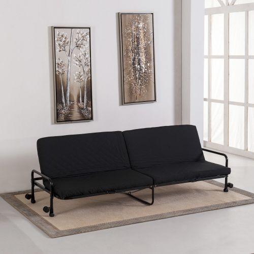 Homcom 3-Seat Foldable Fabric Sofa Bed - Black