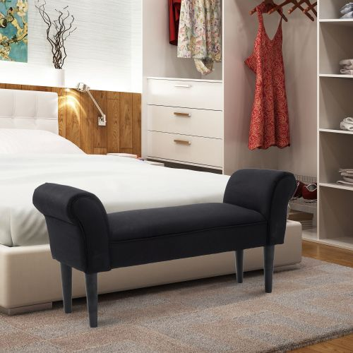 Homcom Fabric Chaise Lounge Bench - Black or White