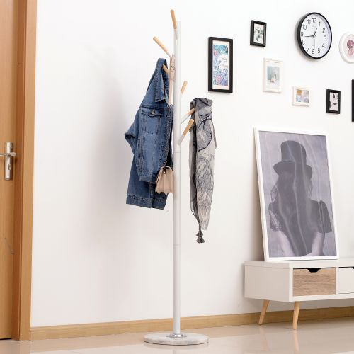 Free Standing Metal Coat Rack with Marble Base