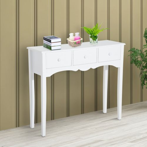 Homcom Classic White 3-Drawer Console Table