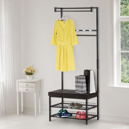 Homcom Multi Purpose Hanger for Shoes and Coats with Stool