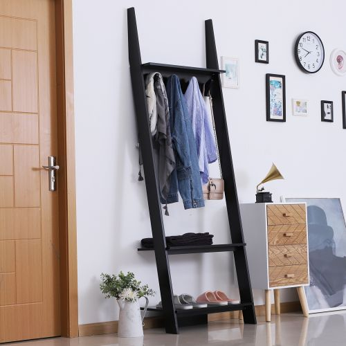 3-Tier Ladder Clothes Rack W/4 Hooks - Black or White