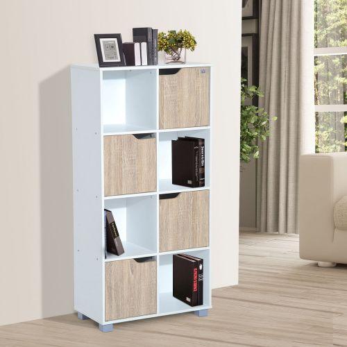 Homcom 8 Cubic Bookcase White & Oak