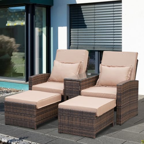 Outsunny Rattan Reclining Companion Lounge Chair & Stools - Brown