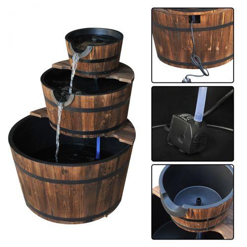 Outsunny 3 Tier-Fir  Wooden Water Pump Fountain