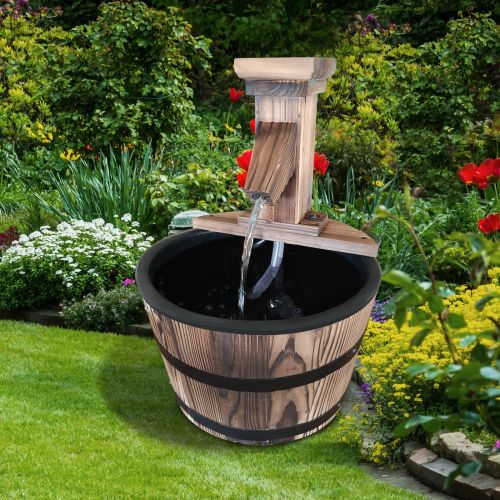 Outsunny V1 Wooden Barrel Electric Water Fountain