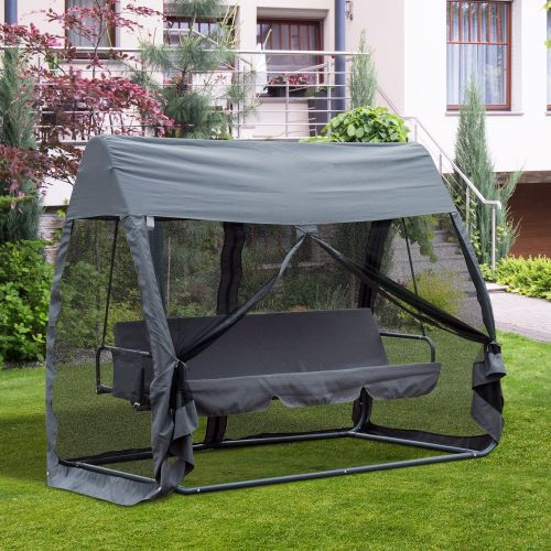 Outsunny 3-Seat Garden Swing Bench with Canopy Cover