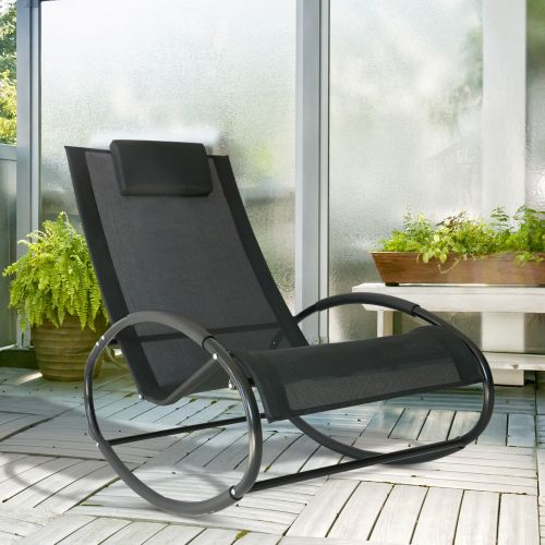 Outsunny Texteline Rocking Sun Lounger Chair - Black