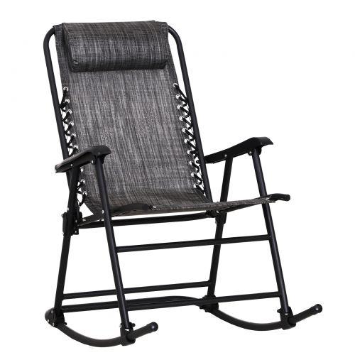 Outsunny Rocking Zero-Gravity Chair w/ Headrest - Black or Grey
