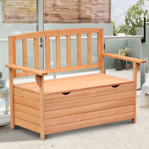 Outsunny Fir Wood Garden Storage Bench