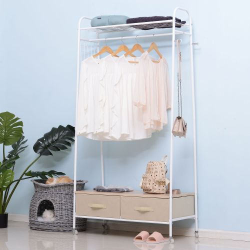 Metal Rolling Coat Rack with 2 Drawers