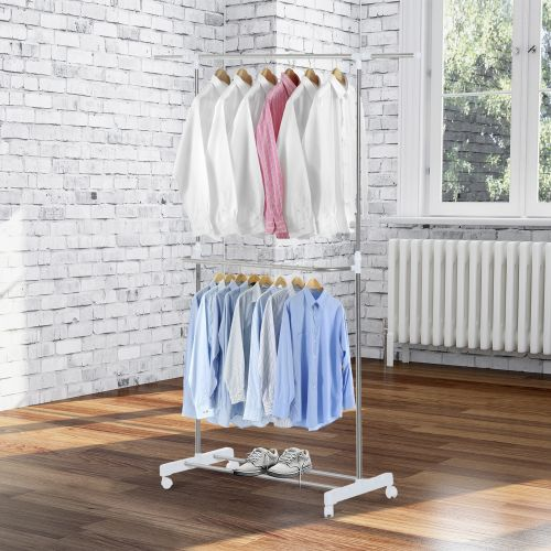 Homcom Stainless Steel Extendable Clothes Rack
