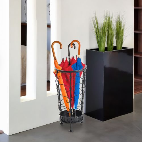 Antique Metal Umbrella Stand with Floral Design