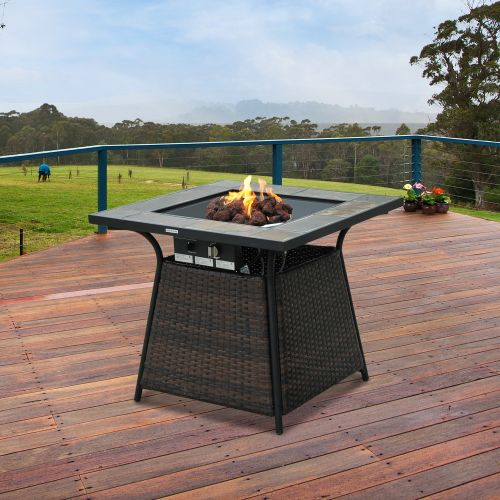 Outsunny Square Rattan Patio Gas Fire Pit Heater w/ Control Panel