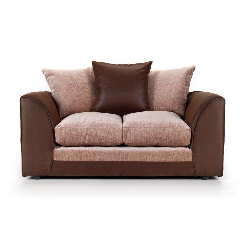 Aruba Brown and Beige Fabric 2 Seater Sofa