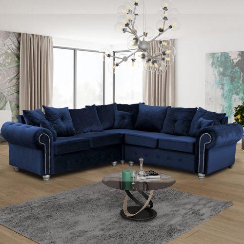 Ashwin Plush Velvet Corner Sofa - Blue and Grey