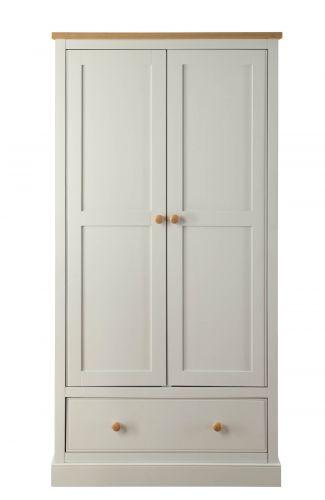 LPD St. Ives 2 Door 1 Drawer Wardrobe - Dove Grey