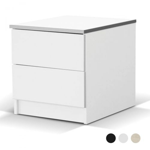 Avellino Matte 2 Drawer Bedside Table - White, Black, Oak