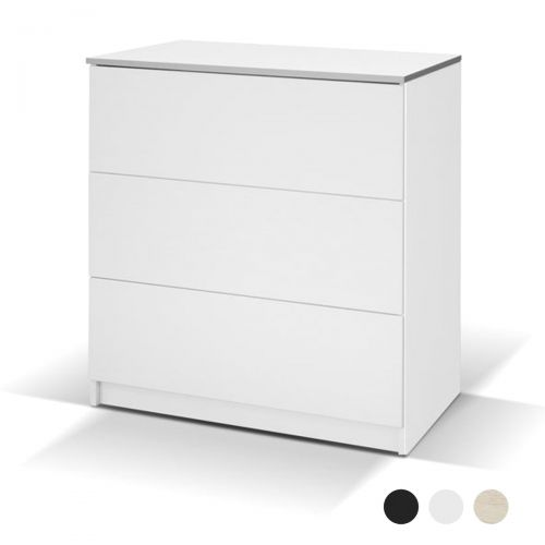 Avellino Matte 3 Drawer Chest of Drawers - White, Black, Oak